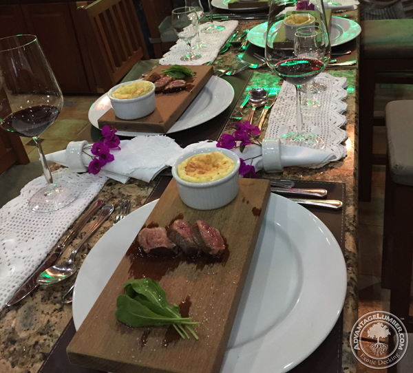 A Brazilian restaurant serving prime cut meat on ipe planks