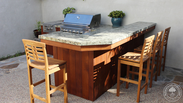 The entire outdoor kitchen base is made from Ipe