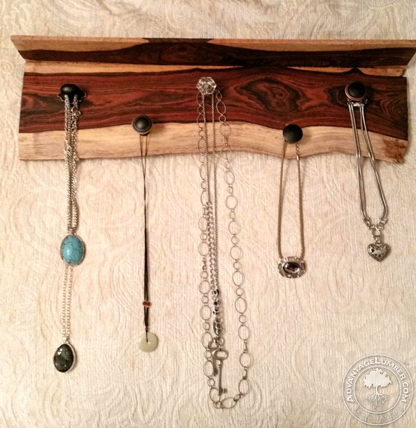 A beautiful necklace holder made from a solid mill run piece of hardwood.