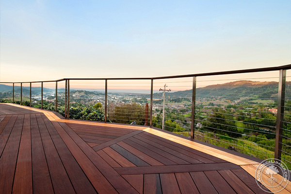 A deck provides a much larger space and can be build on a second story to enjoy a beautiful view.