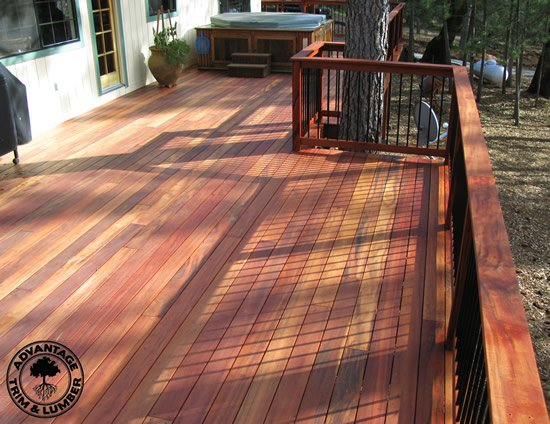 Solid wood deck made of Tigerwood.