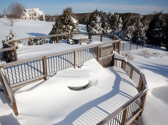 deck maintenance, shoveling snow