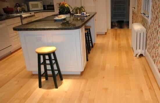 birds eye maple flooring in kitchen