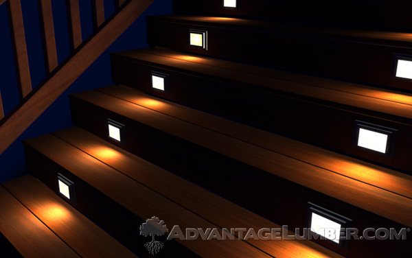 Recessed deck lighting is a great addition to a stair case.