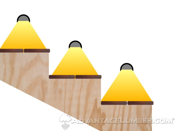 Installing post lights into stringers so that each light illuminates one step can create a uniform look, but might also a cluttered one.