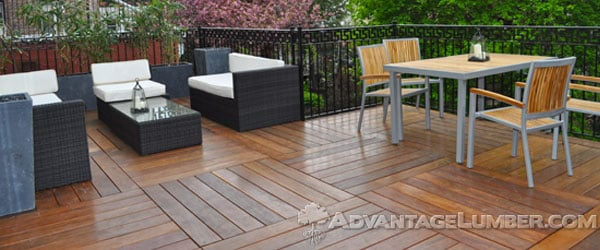 This gorgeous Cumaru deck was built into a checkerboard pattern using 6' boards.