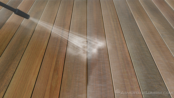 Pressure washing helps break up the end sealer on the surface and prepares it for sanding.