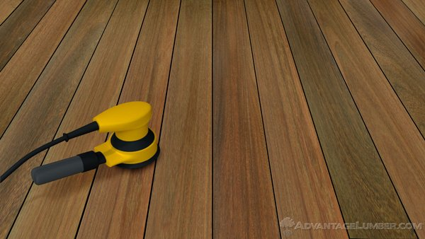 Sanding helps smooth the decking and remove any remaining residue.
