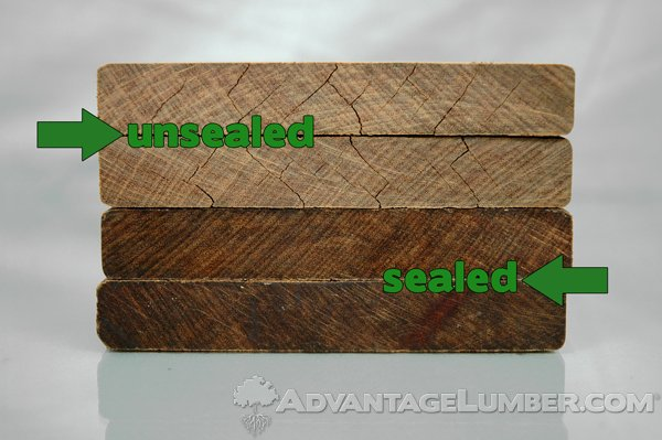 Here you can see exactly what happens to your hardwood decking when you don't end seal the cuts.