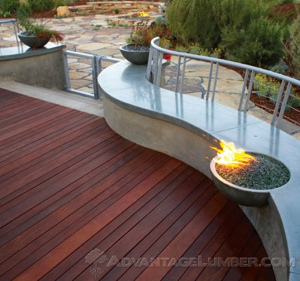 Deck with Fire Pit and Pavers