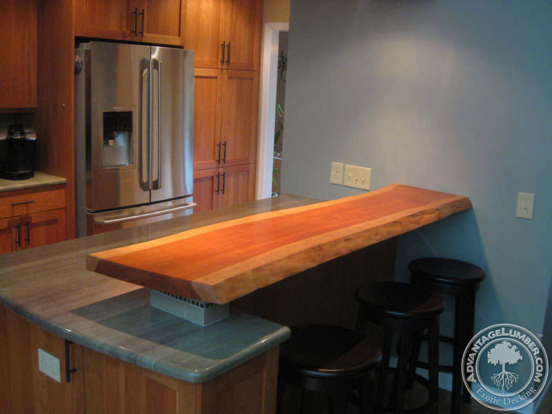 Counter top created out of a rough cut piece of American Cherry