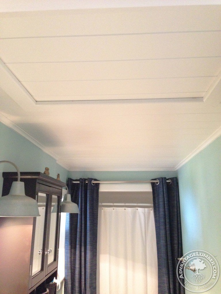 The finished product is an amazing ceiling, perfect for this bathroom style.