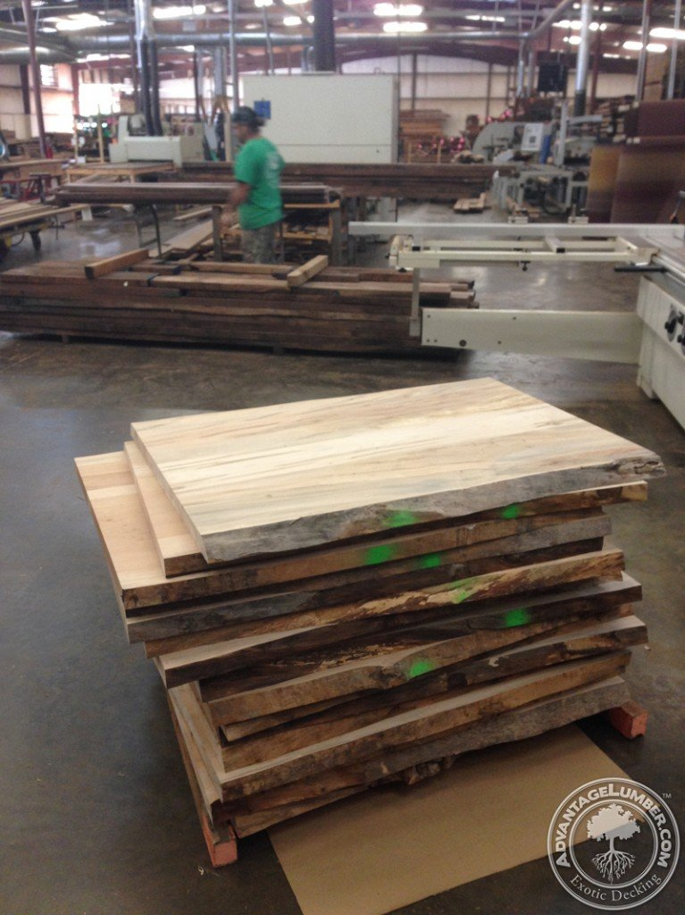 Ambrosia Maple Table Tops ready for final planning in North Carolina