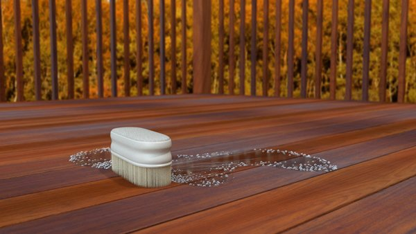 Brushing down your deck with some mild dish soap will help keep stains under control