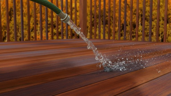 Hosing down your deck to remove the soap and other dirt will keep it clean. Using a good brush to sweep off the excess water will help from generating water spots