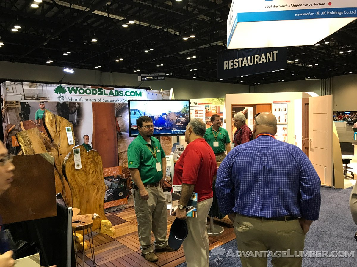 Our wood slabs booth caught the eye of various professionals.