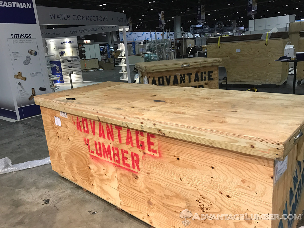 Two of our crates packed up and ready to ship back after a busy and productive IBS show.