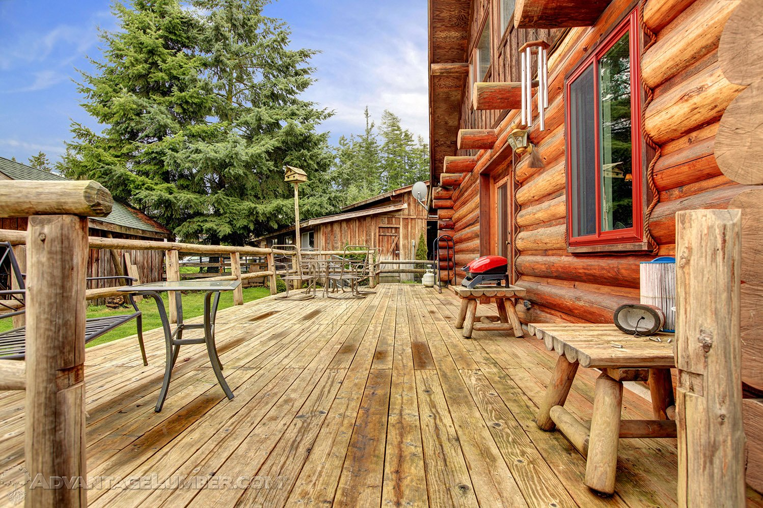 pressure treated deck log cabin