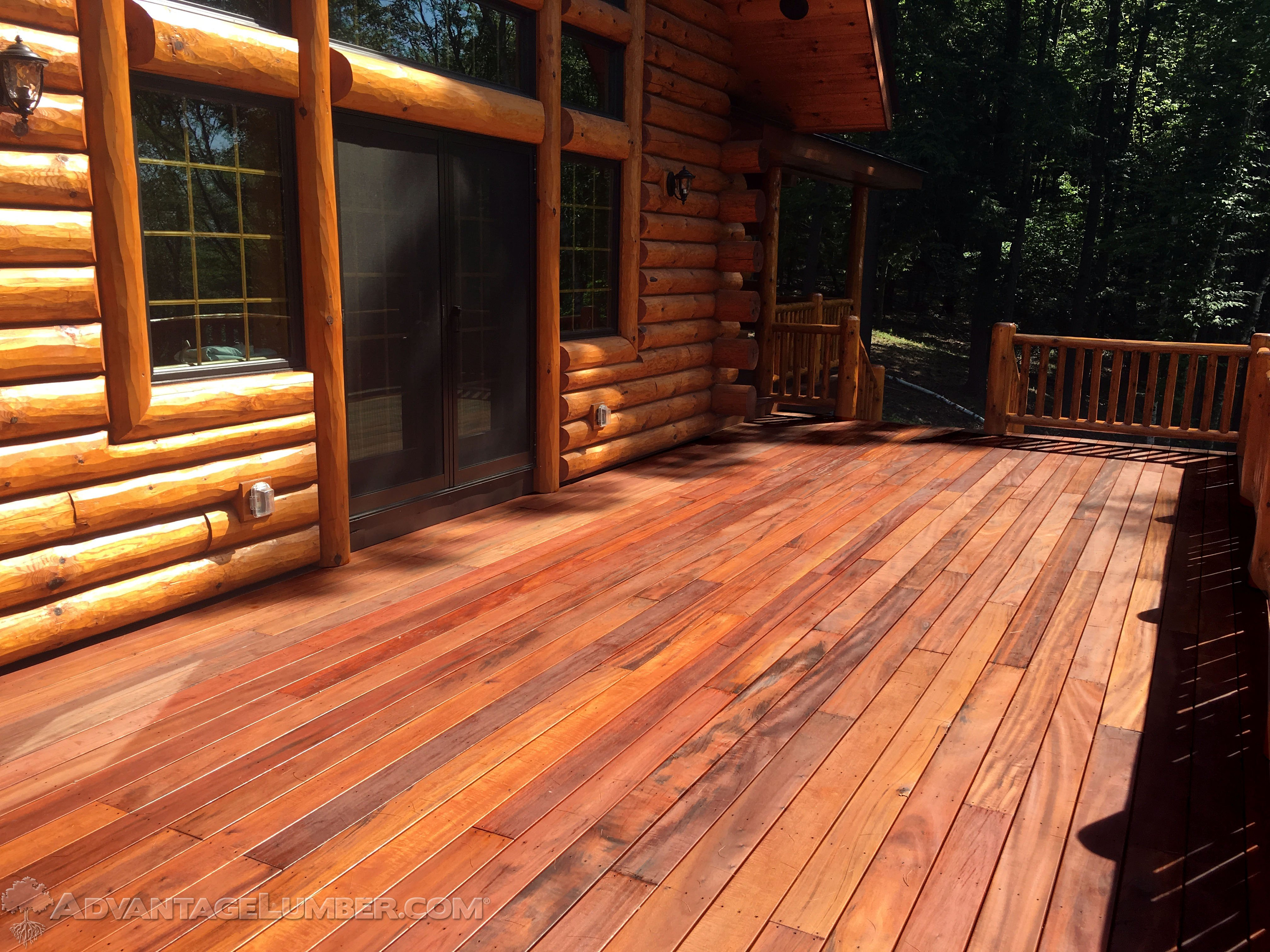 Tigerwood log cabin deck