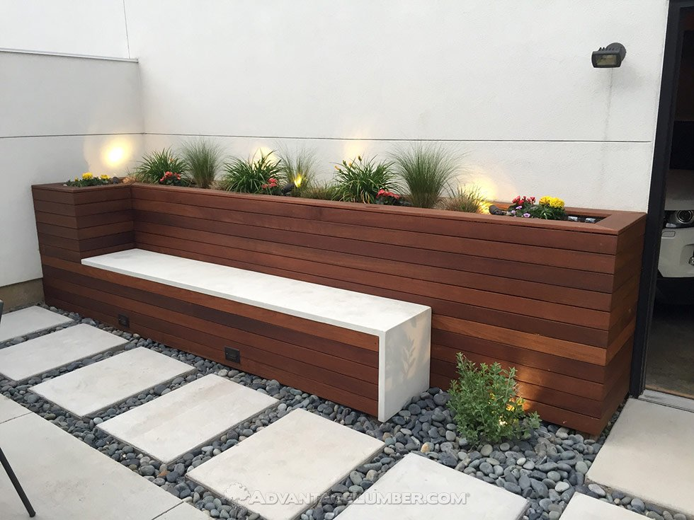 Ipe Wood Planter Bench